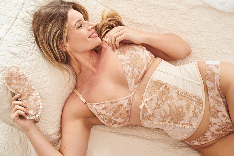 vintage inspired lingerie set in blush pink and gold lace