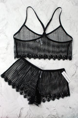 Black French lace lingerie and camisole with tap pants