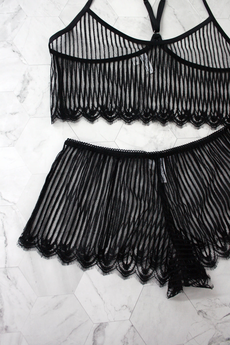 Angela Friedman black French lace lingerie lounge wear, striped dentelle sheer negligee lingerie camisole