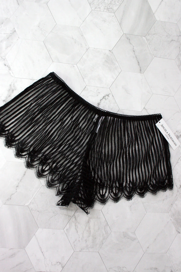 Luxury designer tap pants, handmade of striped French lace