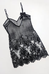 Luxury designer night wear and black lace slip