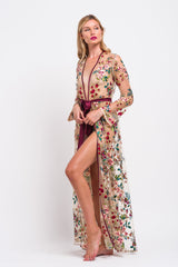 Luxury, embroidered floral tulle dressing gown