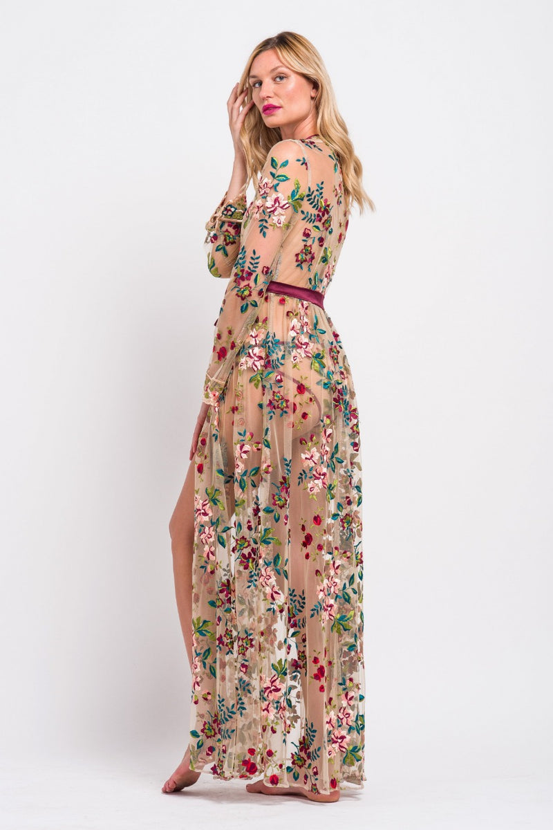 Glamorous, floral embroidered robe by designer Angela Friedman