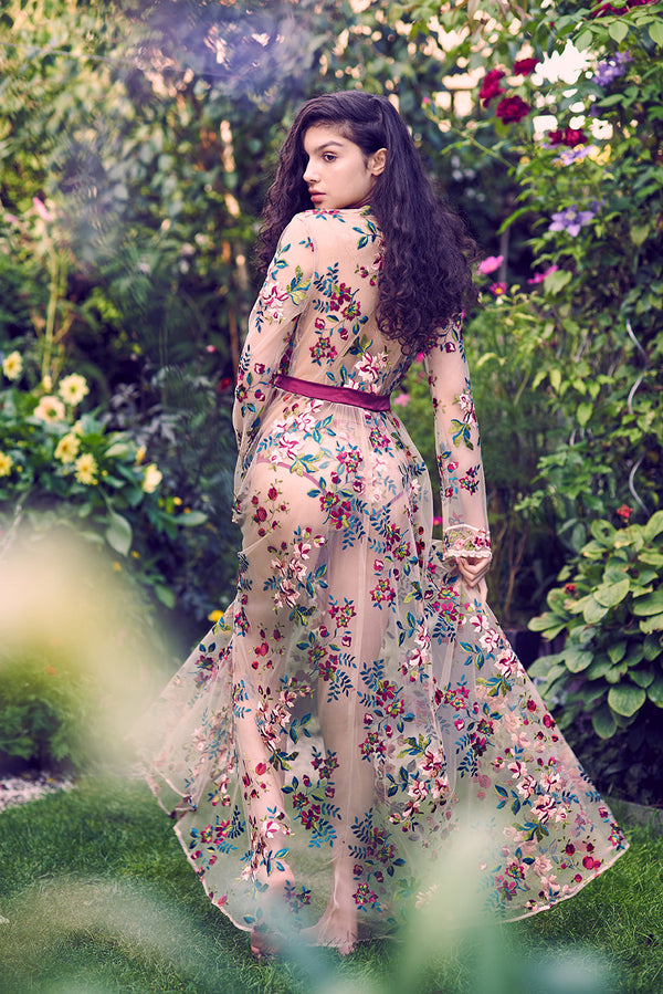 Vintage inspired, floral embroidered robe with floor length skirt
