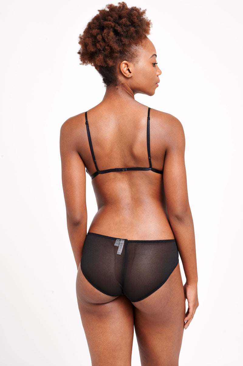 Black mesh panties and bralettes by vintage style designer Angela Friedman