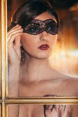 Angela Friedman boudoir black eye mask with french lace and silk