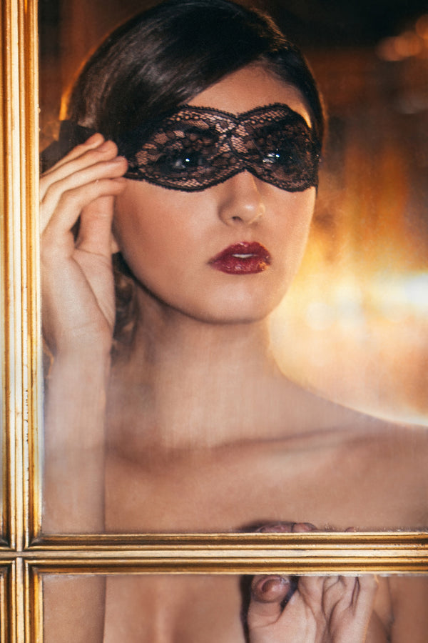 Angela Friedman black lace eye mask