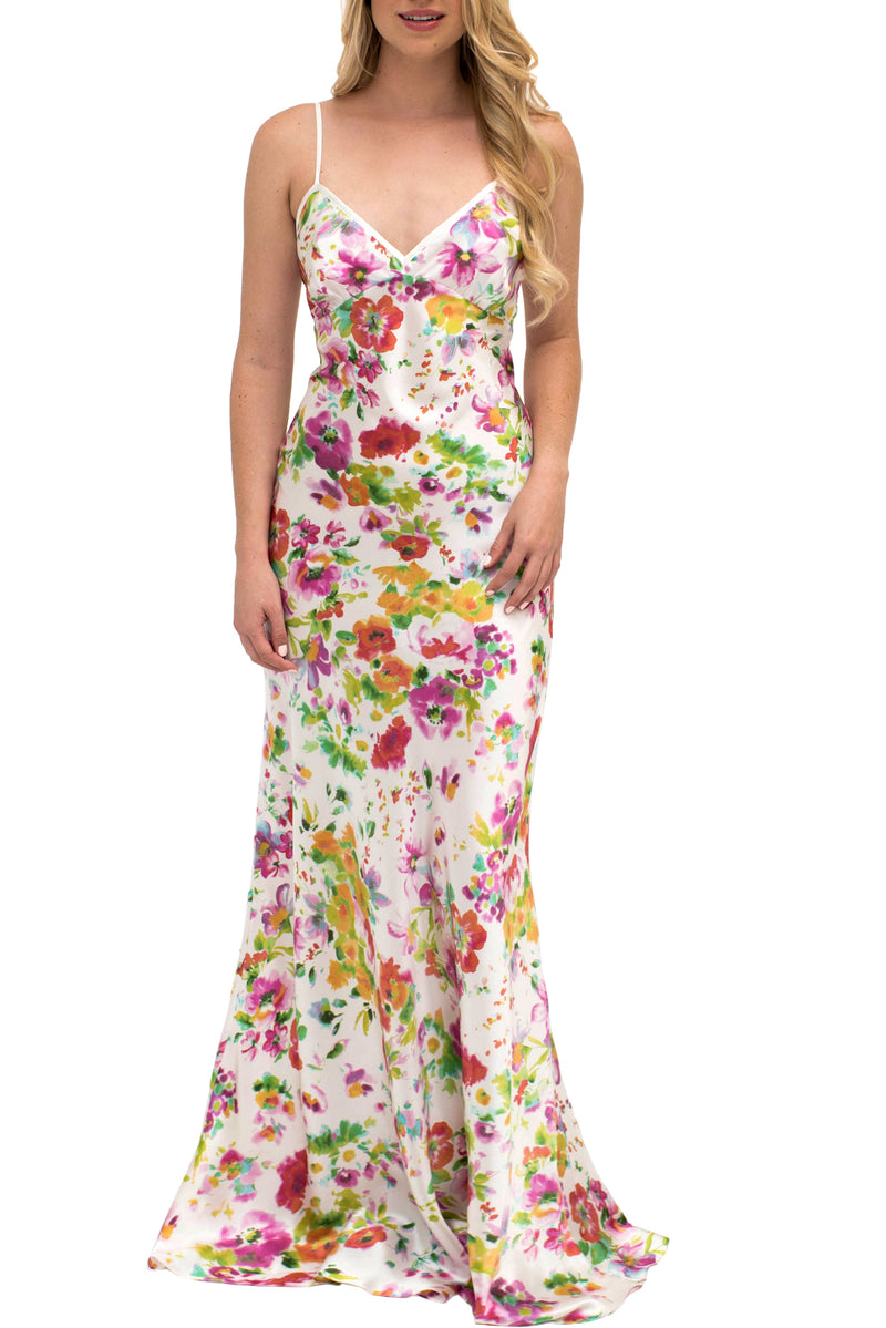 Floral silk gown by Angela Friedman - floor length bias cut silk gowns