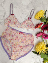 Lingerie set with floral mesh bra and high waisted knickers