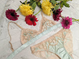 Vintage silk lingerie set with mint green satin knickers and bralettes