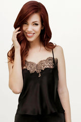 Angela Friedman black satin camisole in 100% silk