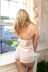 100% silk lounge wear and sleepwear set in blush pink