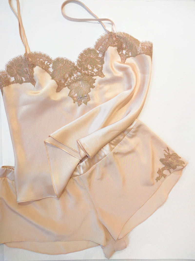 Vintage inspired camisole and tap pants in blush pink silk with gold french lace applique