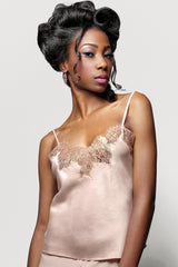 100% silk camisole with blush pink and gold french lace applique, handmade in the UK