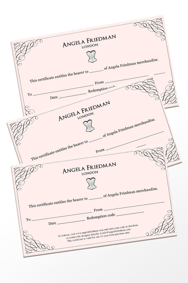 Buy Angela Friedman lingerie gift certificates online