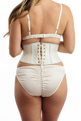 White silk lingerie set and corset made in the UK