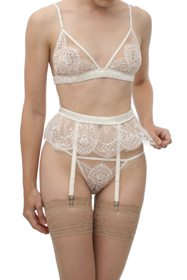 Angela Friedman designer lace bras, white silk and lace bralettes and wedding lingerie sets made in the UK