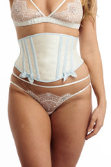 Wedding lingerie set with white lace knickers and a silk corset