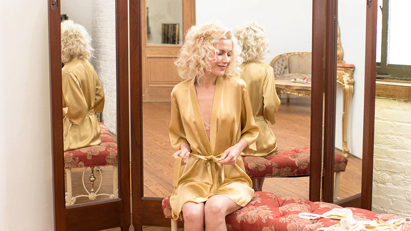 Angela Friedman silk robes - gold robe in 100% silk satin charmeuse, handmade lingerie and lounge wear
