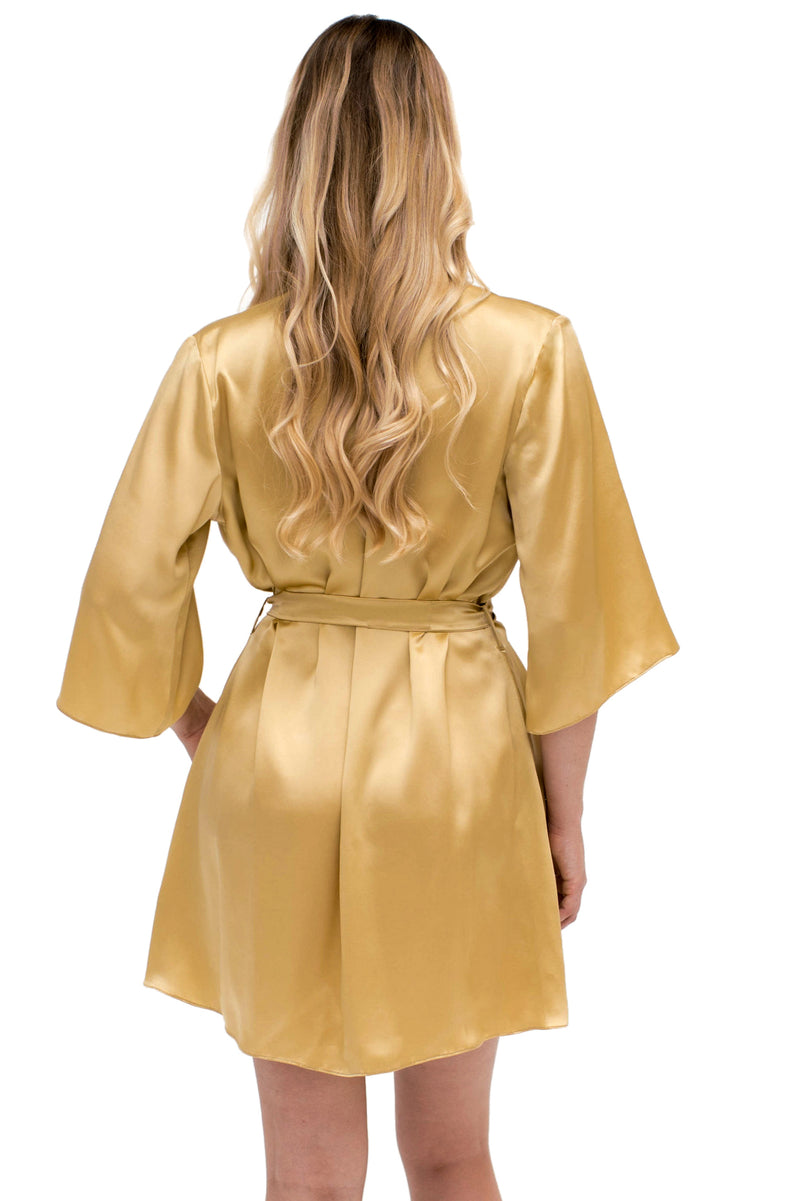 Vintage style gold robe in 100% silk satin, back view