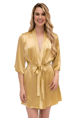 Angela Friedman gold silk robes and dressing gowns