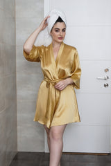 Vintage-inspired gold robe in 100% silk satin for weddings and brides