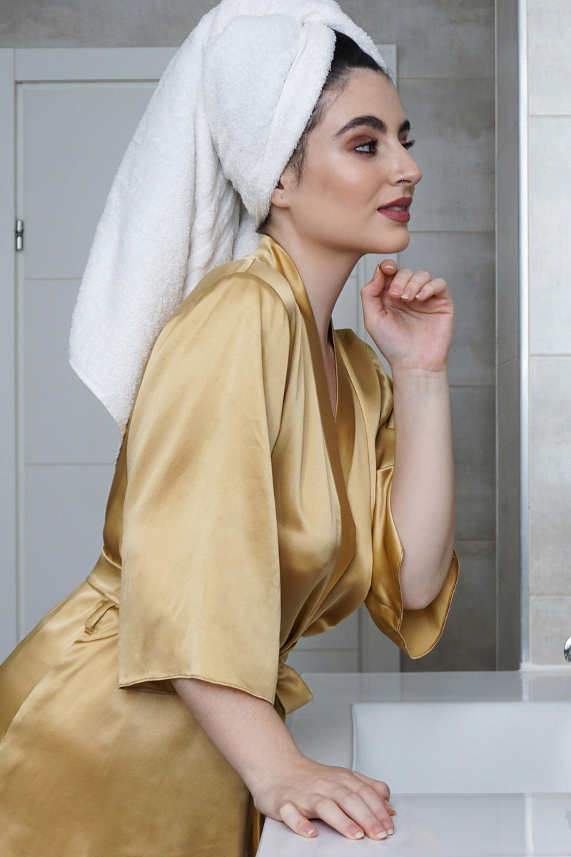 100% pure silk dressing gown in gold and yellow satin