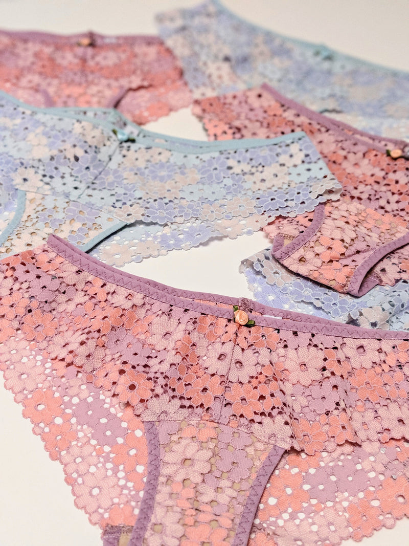 Blue and pink lace underwear set by designer Angela Friedman
