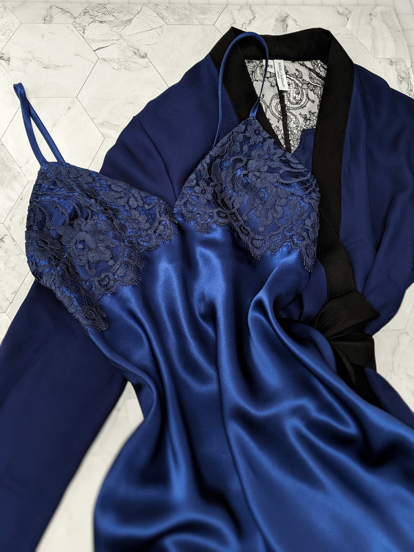 Silk bias-cut slip and french lace robe in navy blue