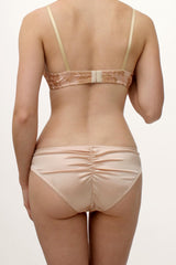 Isabel blush pink and gold lingerie set in 100% silk satin