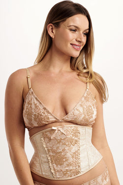 Luxury waspie corset with blush pink brocade and gold french lace