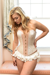 Blush satin Isabel corset with silk brocade and white silk ruffled panties