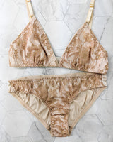Peach lingerie set in a vintage style with french lace overlays and 100% silk satin lining