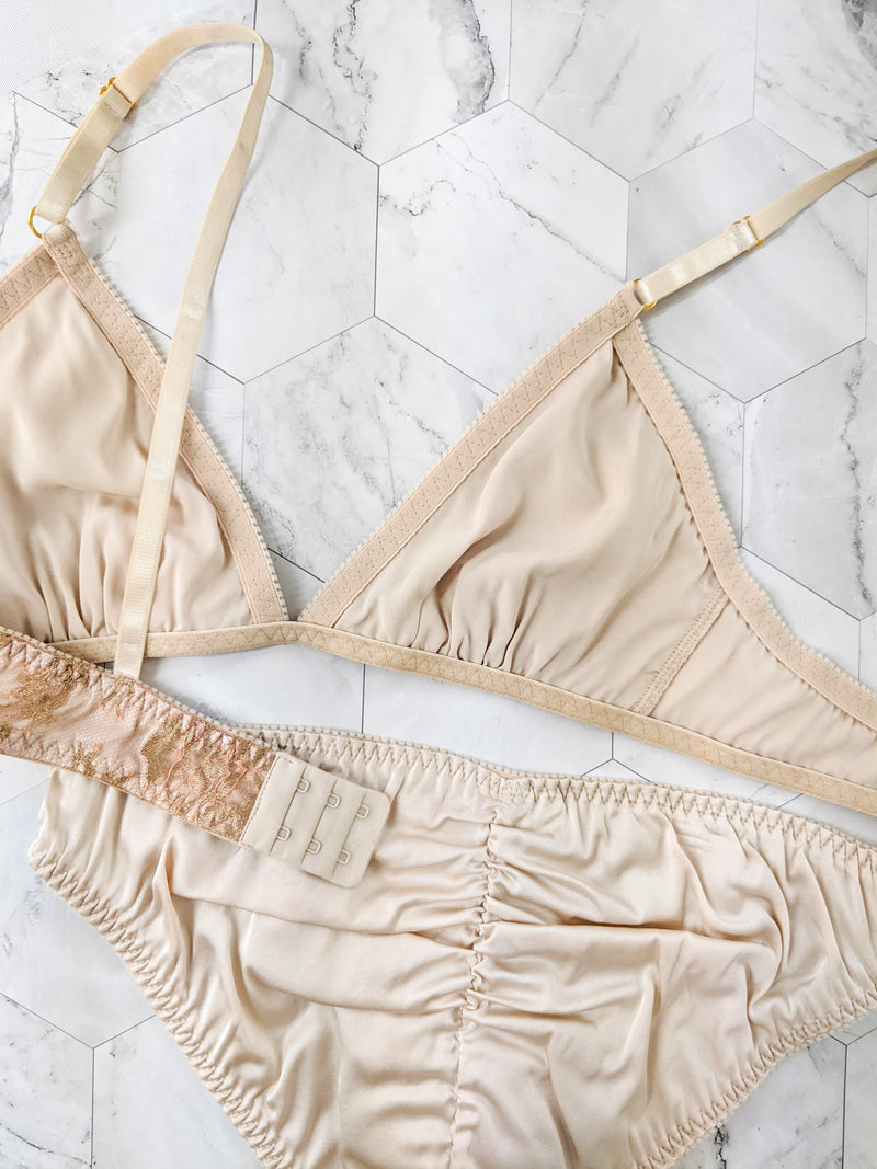 Blush pink silk and French lace lingerie set, bralette and underwear by designer Angela Friedman, handmade lingerie