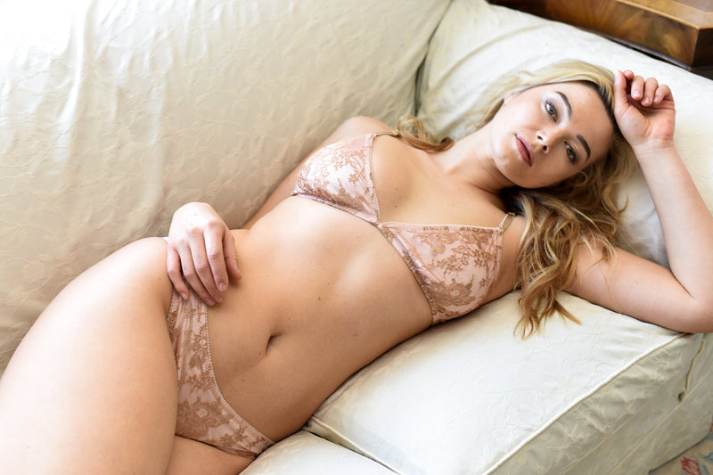 Gold and pink silk lingerie set with lace bra and panties