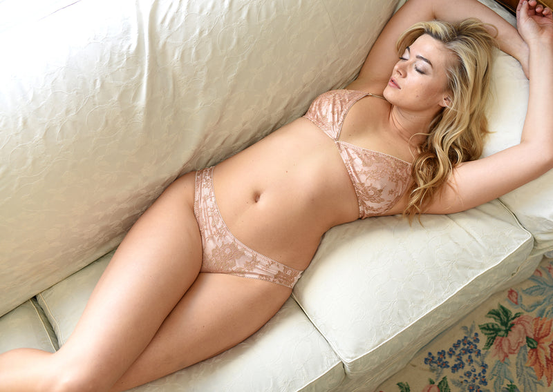 Angela Friedman blush pink silk and French lace knickers, silk lingerie sets, luxury bra and panties Isabel