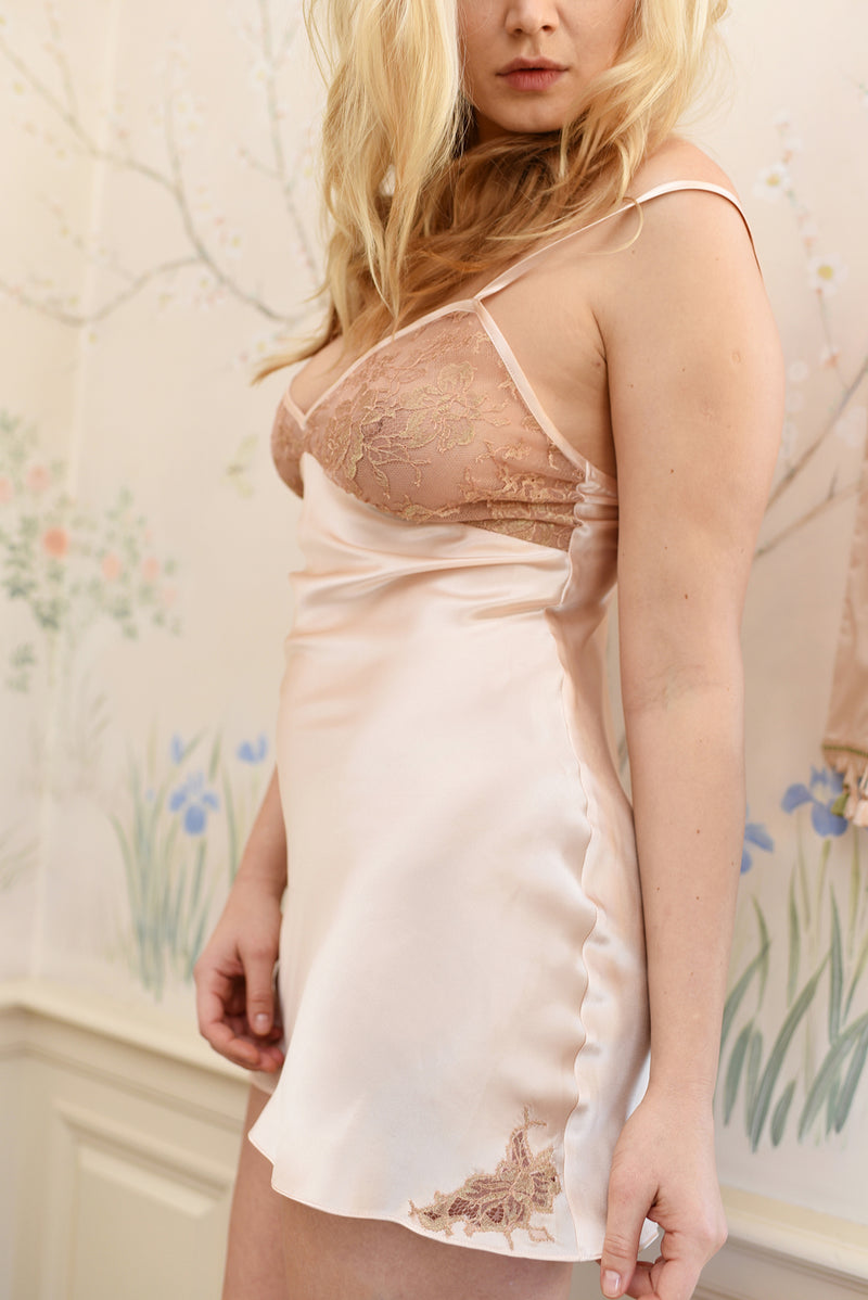 Angela Friedman blush pink silk slip, Isabel slip with pink silk and French lace