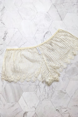 Ivory Dentelle shorts handmade in french lace