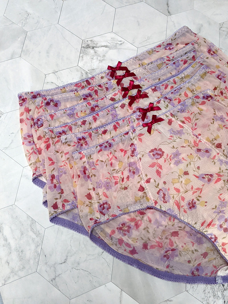 Floral printed, hi waist panties with purple and red bows and mesh