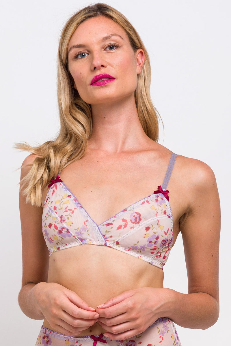 Luxury vintage-style bra with floral print mesh and lilac purple and red bows