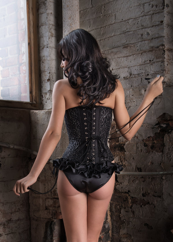 Angela Friedman black lace Lavinia corset - French lace luxury designer corsetry corsets lingerie vintage retro silver