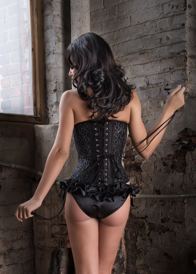 luxury vintage-style lingerie set with a black lace corset