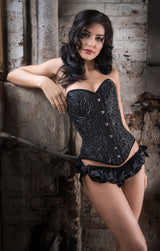 Designer luxury vintage style underwear set with a black lace corset