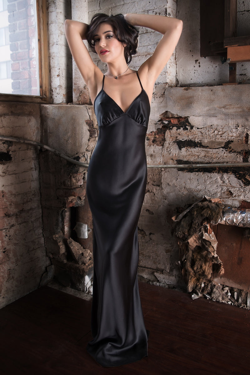 Black silk satin Lavinia gown with a floor-length vintage cut