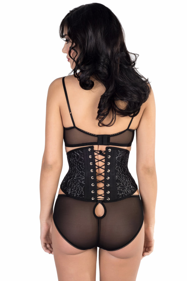 Angela Friedman waist cincher waspie black corset, silk and French lace corsetry, steel boned real corsets