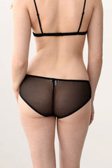 Vintage inspired 100% silk knickers with black mesh