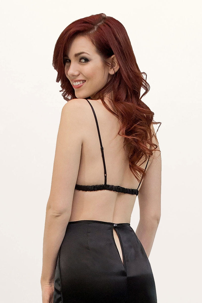 Angela Friedman's Louisa black silk tap pants back