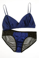 Angela Friedman navy blue silk lingerie set with black mesh knickers