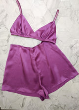 2 piece lounge wear set with a silk bra and vintage style tap pants