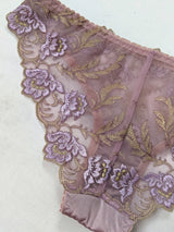 Embroidered mauve and lilac purple knickers with silk and flowers
